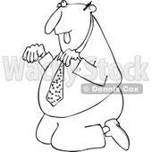 Cartoon of an Outlined Businessman Begging on His Knees - Royalty Free Vector Clipart © djart #1160713