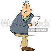 Cartoon of a Caucasian Man Wearing Glasses and Reading a Long Document - Royalty Free Vector Clipart © djart #1160714