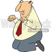Cartoon of a Caucasian Businessman Begging on His Knees - Royalty Free Vector Clipart © djart #1160715