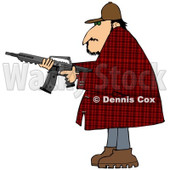 Cartoon of a Man in a Plaid Jacket, Holding a Semi Automatic Assault Rifle with a Clip - Royalty Free Clipart © djart #1160716