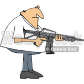 Cartoon of a Casual Man Holding a Semi Automatic Assault Rifle with a Clip - Royalty Free Vector Clipart © Dennis Cox #1160717