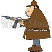 Cartoon of a Man in a Brown Jacket, Holding a Semi Automatic Assault Rifle with a Clip - Royalty Free Vector Clipart © djart #1160718