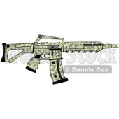 Cartoon of a Camo Semi Automatic Assault Rifle with a Clip - Royalty Free Clipart © djart #1160719
