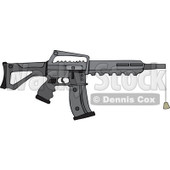 Cartoon of a Black Semi Automatic Assault Rifle with a Clip and a Cork - Royalty Free Vector Clipart © Dennis Cox #1160720