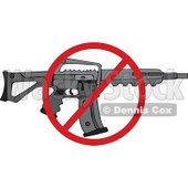 Cartoon of a Black Semi Automatic Assault Rifle with a Clip and a Prohibited Symbol - Royalty Free Vector Clipart © Dennis Cox #1160722