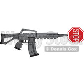 Cartoon of a Black Semi Automatic Assault Rifle with a Stop Sign - Royalty Free Vector Clipart © Dennis Cox #1160723