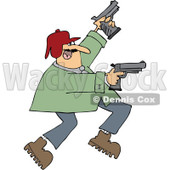 Cartoon of a Man Running and Shooting Two Pistols - Royalty Free Vector Clipart © djart #1160953