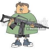 Cartoon of a Nervous Caucasian Boy Holding an Assault Rifle - Royalty Free Vector Clipart © djart #1160954