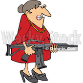Cartoon of an Angry Brunette Caucasian Woman Holding an Assault Rifle - Royalty Free Vector Clipart © djart #1160957