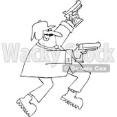 Cartoon of an Outlined Man Running and Shooting Two Pistols - Royalty Free Vector Clipart © djart #1160958