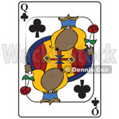 Cartoon of a Dog Queen Club Playing Card - Royalty Free Vector Clipart © djart #1162297