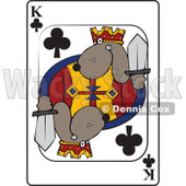 Cartoon of a Dog King Club Playing Card - Royalty Free Vector Clipart © Dennis Cox #1162298