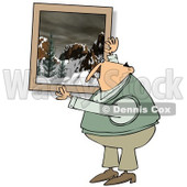 Cartoon of a Caucasian Man Hanging up a Snowy Mountain Picture - Royalty Free Clipart © djart #1162299