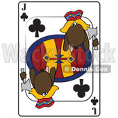 Cartoon of a Dog Jack Club Playing Card - Royalty Free Vector Clipart © djart #1162302