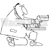 Cartoon of an Outlined Kneeling Man Using a Pistol - Royalty Free Vector Clipart © djart #1164202