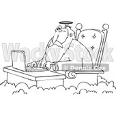Cartoon of an Outlined Jesus Working on a Laptop at a Desk in Heaven - Royalty Free Vector Clipart © Dennis Cox #1164206