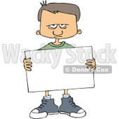 Cartoon of an Angry Boy Holding a Sign - Royalty Free Vector Clipart © djart #1164208