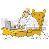 Cartoon of Jesus Working on a Laptop at a Desk in Heaven - Royalty Free Vector Clipart © djart #1164210