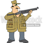 Cartoon of a Hunting Man Using a Shotgun - Royalty Free Vector Clipart © djart #1164213