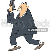 Cartoon of a Secret Agent Man Holding up His Firearm - Royalty Free Vector Clipart © djart #1166758