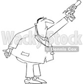 Cartoon of an Outlined Secret Agent Man Shooting His Firearm - Royalty Free Vector Clipart © djart #1166760