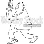 Cartoon of an Outlined Secret Agent Man Holding up His Firearm - Royalty Free Vector Clipart © djart #1166761