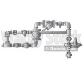 Cartoon of a Vertical Industrial Gas Rotary Set - Royalty Free Clipart © djart #1166763