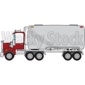 Cartoon of a Big Rig Tanker Truck - Royalty Free Vector Clipart © djart #1166765