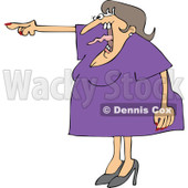 Cartoon of an Angry Woman Screaming and Pointing with Her Tonge Waving - Royalty Free Vector Clipart © Dennis Cox #1166767