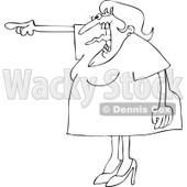 Cartoon of an Outlined Angry Woman Screaming and Pointing with Her Tonge Waving - Royalty Free Vector Clipart © djart #1166768