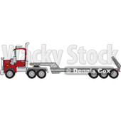 Cartoon of a Low Boy Big Rig Truck - Royalty Free Vector Clipart © djart #1168035
