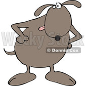 Cartoon of a Brown Dog with His Paws on His Hips - Royalty Free Vector Clipart © djart #1168036