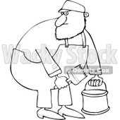 Cartoon of an Outlined Painter Man Holding a Bucket and Brush - Royalty Free Vector Clipart © djart #1168912