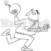 Cartoon of an Outlined Businessman Running and Ready to Throw a Bomb - Royalty Free Vector Clipart © djart #1168913