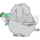Cartoon of an Elephant Holding a Margarita - Royalty Free Vector Clipart © djart #1168916