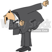 Cartoon of a Formal Caucasian Man Bowing - Royalty Free Vector Clipart © djart #1168919
