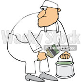 Cartoon of a Caucasian Painter Man Holding a Bucket and Brush - Royalty Free Vector Clipart © djart #1168921