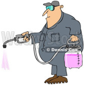 Cartoon of a Caucasian Worker Man Spraying Chemical Pesticides - Royalty Free Clipart © Dennis Cox #1168922