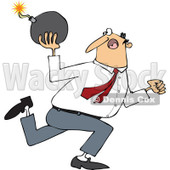 Cartoon of a Caucasian Businessman Running and Ready to Throw a Bomb - Royalty Free Vector Clipart © djart #1168923