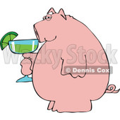 Cartoon of a Pink Pig Holding a Margarita - Royalty Free Vector Clipart © Dennis Cox #1168924