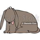 Cartoon of a Outlined Dog Sitting with His Tongue Hanging out - Royalty Free Vector Clipart © djart #1170308