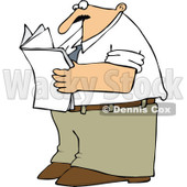 Cartoon of a Man Standing and Reading a Newspaper - Royalty Free Vector Clipart © Dennis Cox #1170312