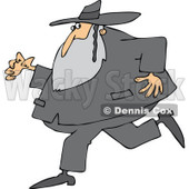Cartoon of a Rabbi Man Running and Glancing Back - Royalty Free Vector Clipart © djart #1170556
