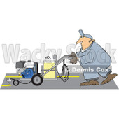 Cartoon of a Parking Lot Striper Worker Operating a Machine - Royalty Free Vector Clipart © Dennis Cox #1170558