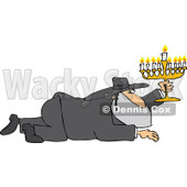 Cartoon of a Rabbi Man Crawling with a Menorah - Royalty Free Vector Clipart © djart #1170560
