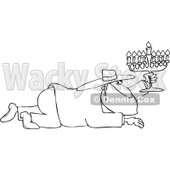 Cartoon of an Outlined Rabbi Man Crawling with a Menorah - Royalty Free Vector Clipart © djart #1170561