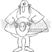 Cartoon of an Outlined Rabbi Holding His Hat - Royalty Free Vector Clipart © djart #1171664