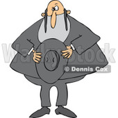 Cartoon of a Rabbi Holding His Hat - Royalty Free Vector Clipart © djart #1171667