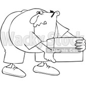 Cartoon of an Outlined Man Bending over and Picking up a Box - Royalty Free Vector Clipart © djart #1172034