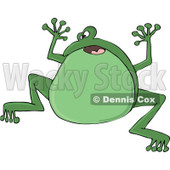 Cartoon of a Frightened Green Frog Jumping - Royalty Free Vector Clipart © djart #1172036